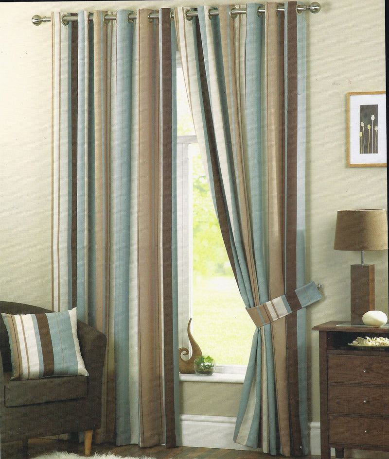 Whitworth Duck Egg/ Teal Stipe Eyelet Lined Curtain