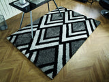 Velvet Bijoux Black Grey Shaggy Rug