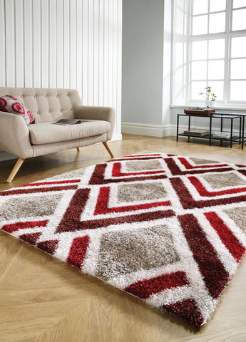 Velvet Bijoux Red Brown Shaggy Rug