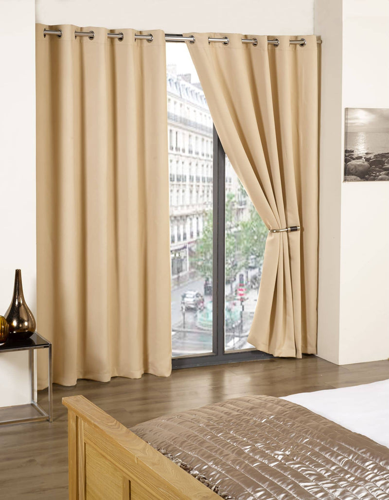 Beige Eco Black Out Thermal Eyelet Curtain