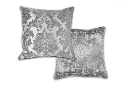 Damask – Luxury Chenille Jacquard Cushion Cover in Silver