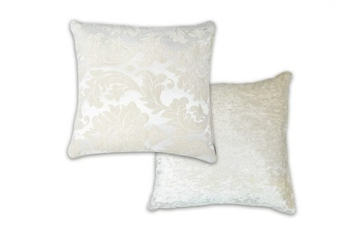 Damask – Luxury Chenille Jacquard Cushion Cover in Ivory