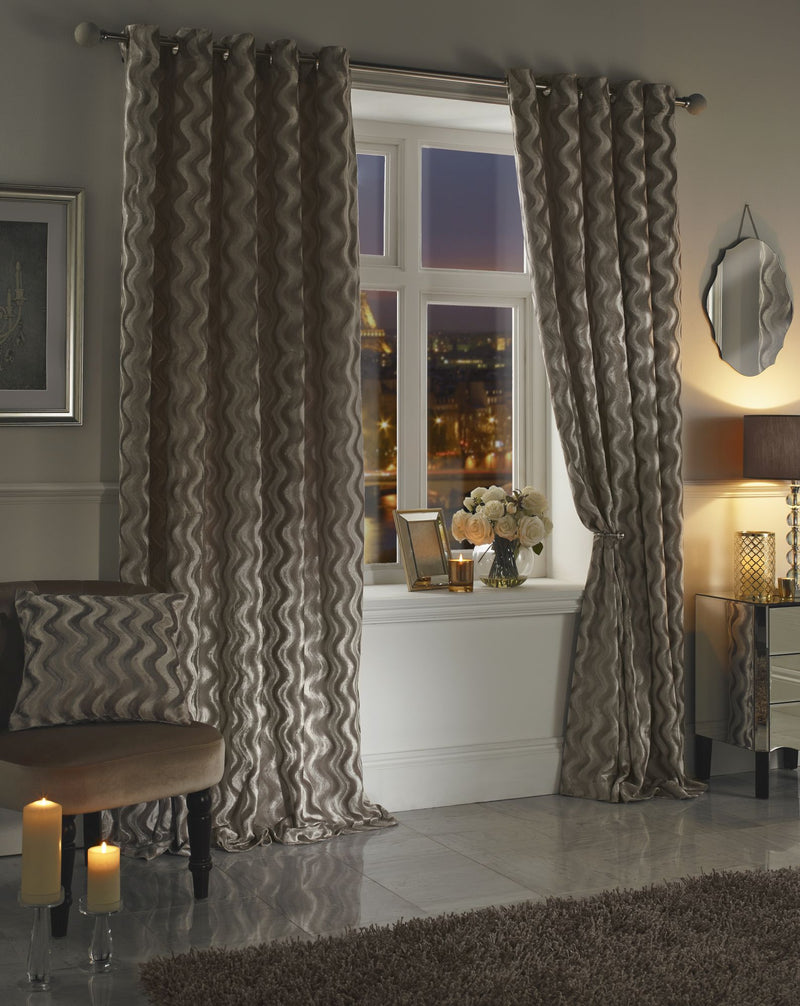 Moda Katie Taupe Lined Eyelet Curtains