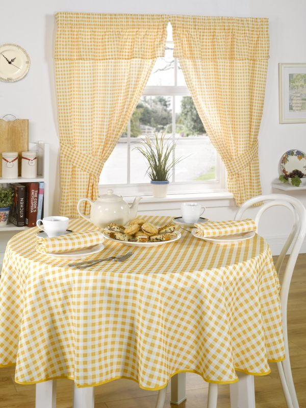 Yellow/Lemon Gingham/checked Tablecloth