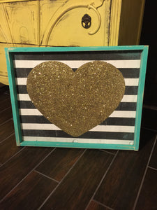 Gold Glitter Heart - Black and White Stripes