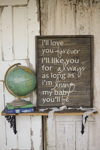 I'll Love You Forever Wood Sign stained background