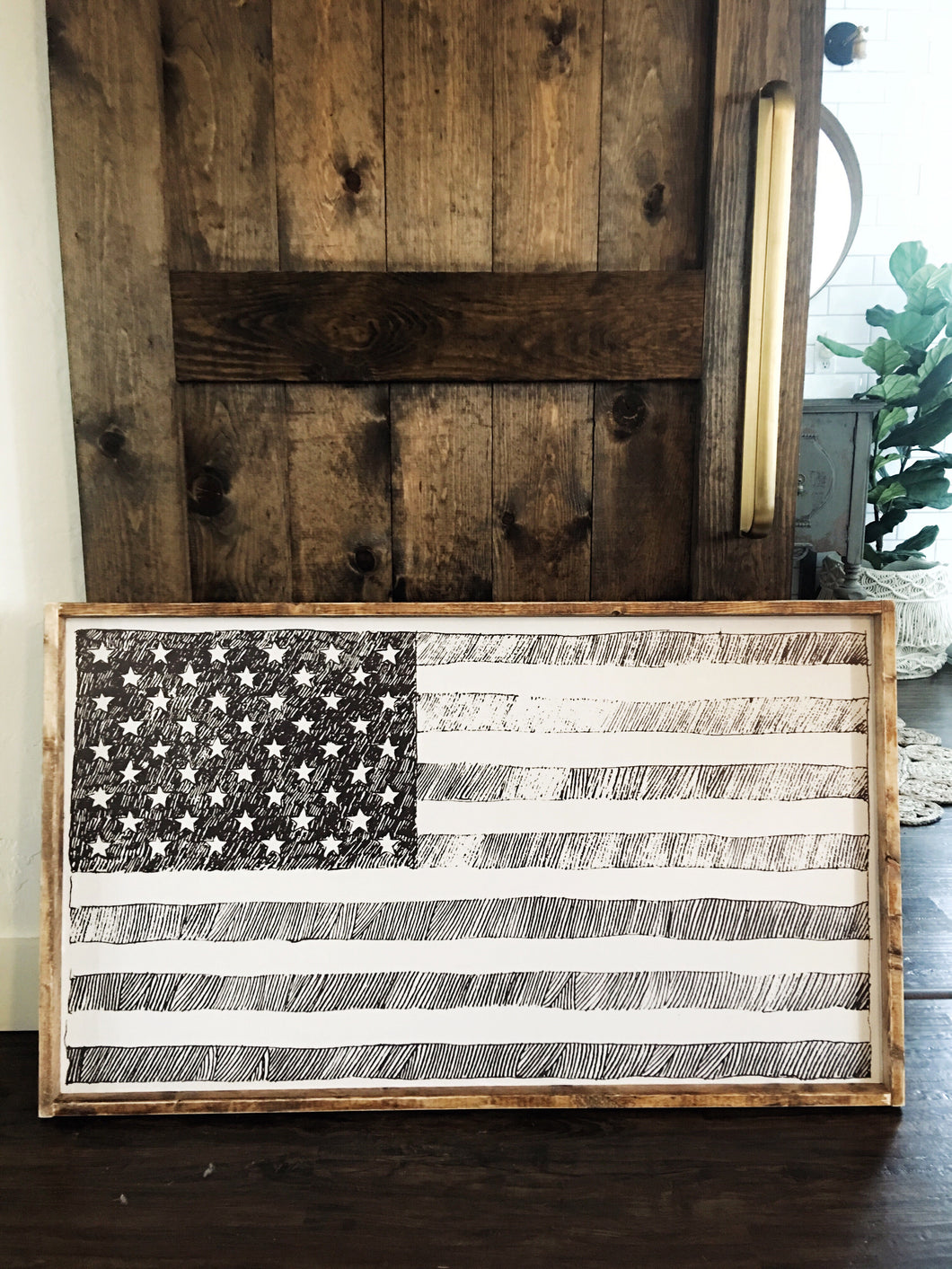 Black and White USA Flag- Wood Sign
