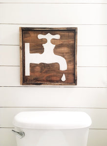 Water Faucet ( 2D) -Wood Sign