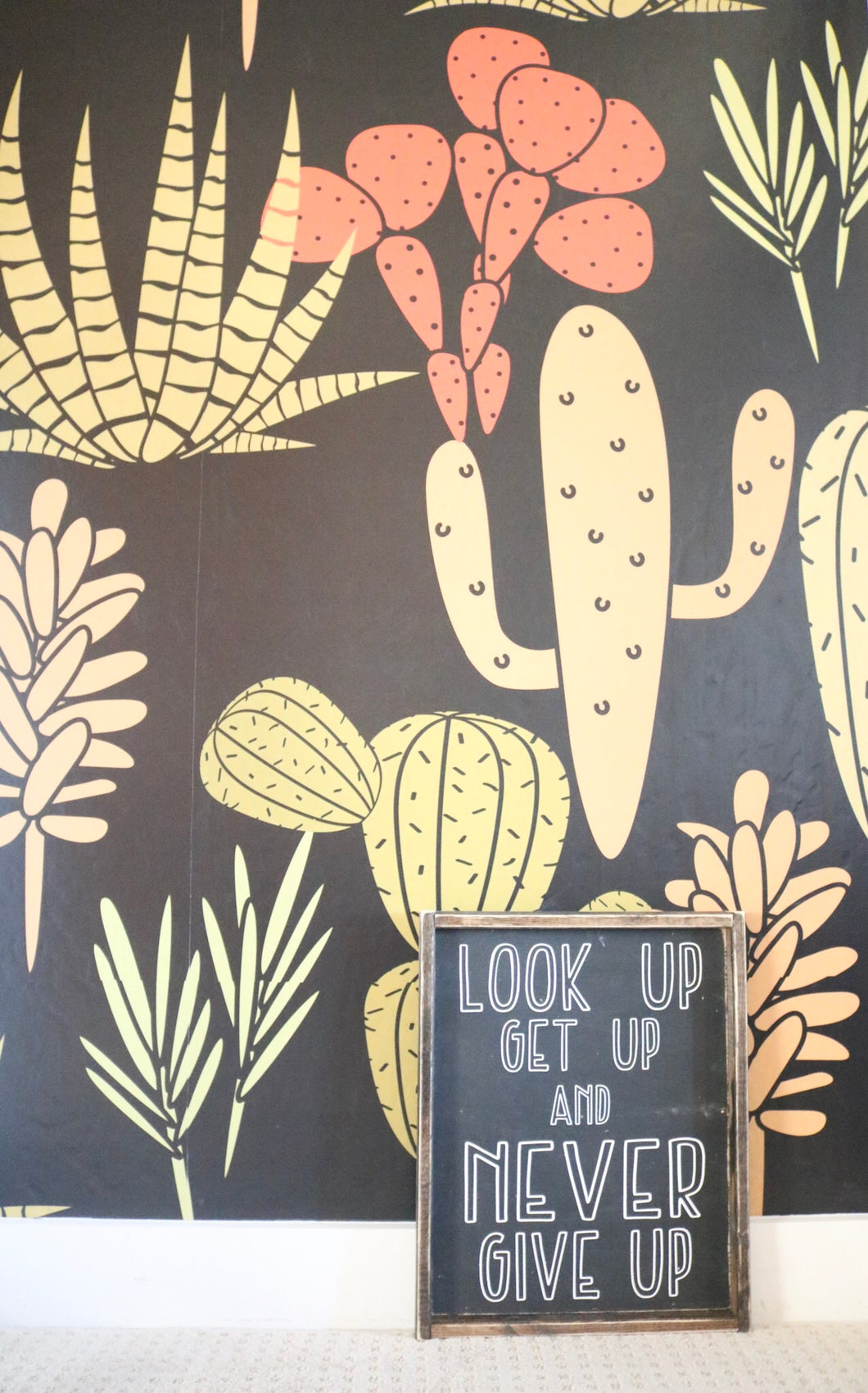 Look Up Get Up Never Give Up- Wood Sign