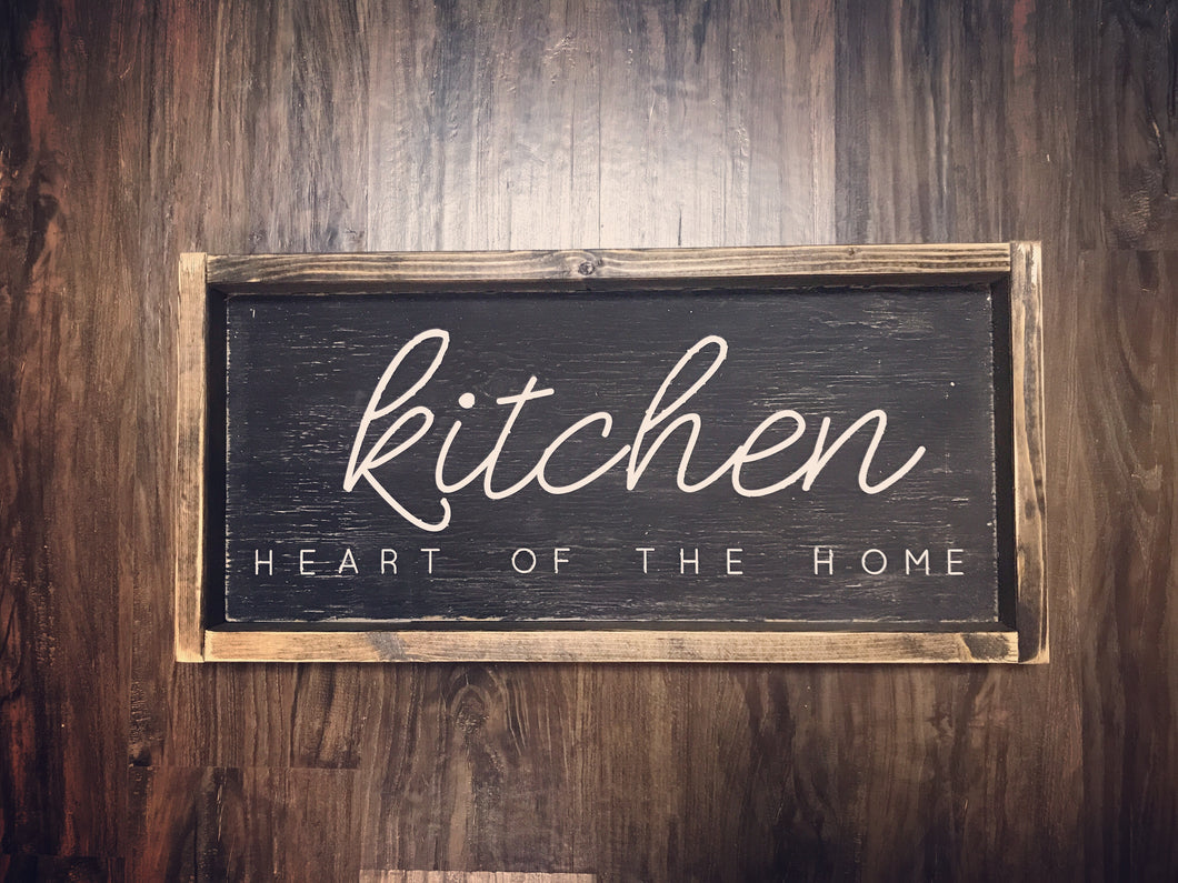Kitchen Heart Of The Home Wood Sign
