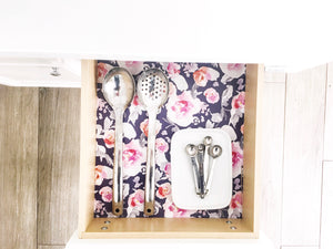 Garden Party Drawer Liner- Navy background/Floral