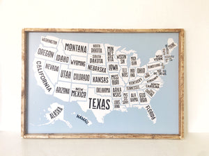USA State Map- Wood Sign
