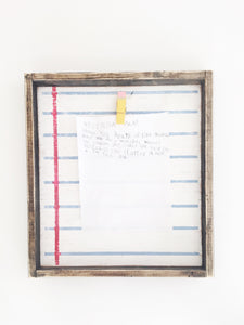Notebook paper wood sign with clip