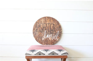 Customizable Wood Circle with Name