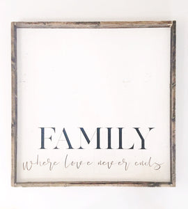 Family Where Love Never Ends Wood Sign