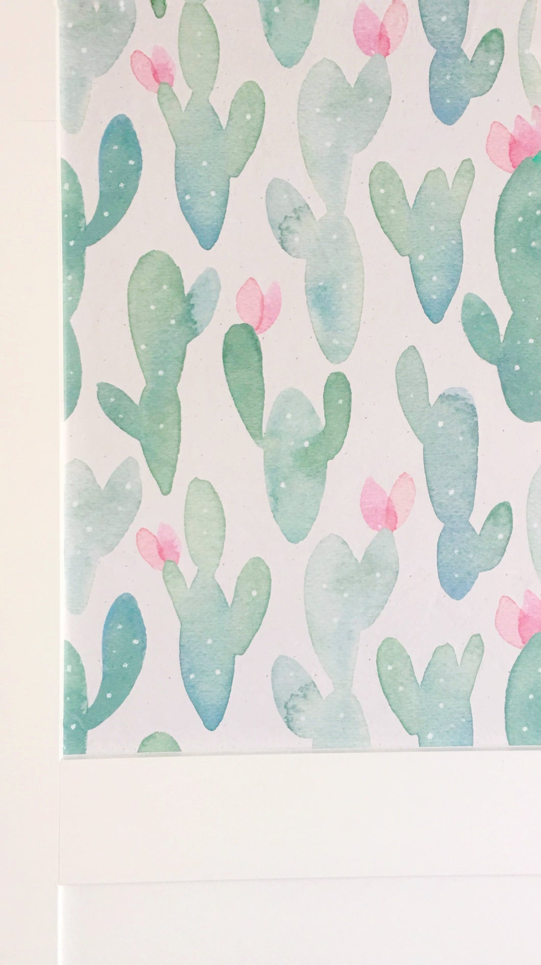 Painted Desert Drawer Liner- Cactus/Pink Flowers Cream Background