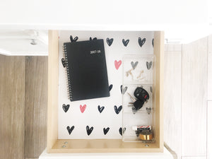 Mavis Drawer Liner - black and white hearts / red