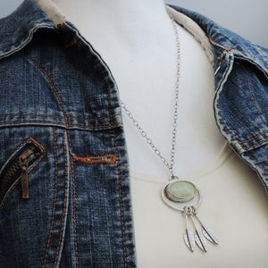 Prehnite Botanical Necklace with Dangling Leaves