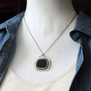Black Sea Glass Silver and Gold Necklace