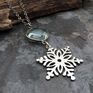 Silver Snowflake Necklace with Blue Quartz