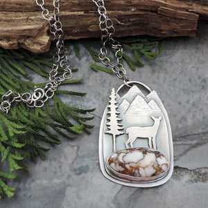 nature jewelry deer necklace with mountains