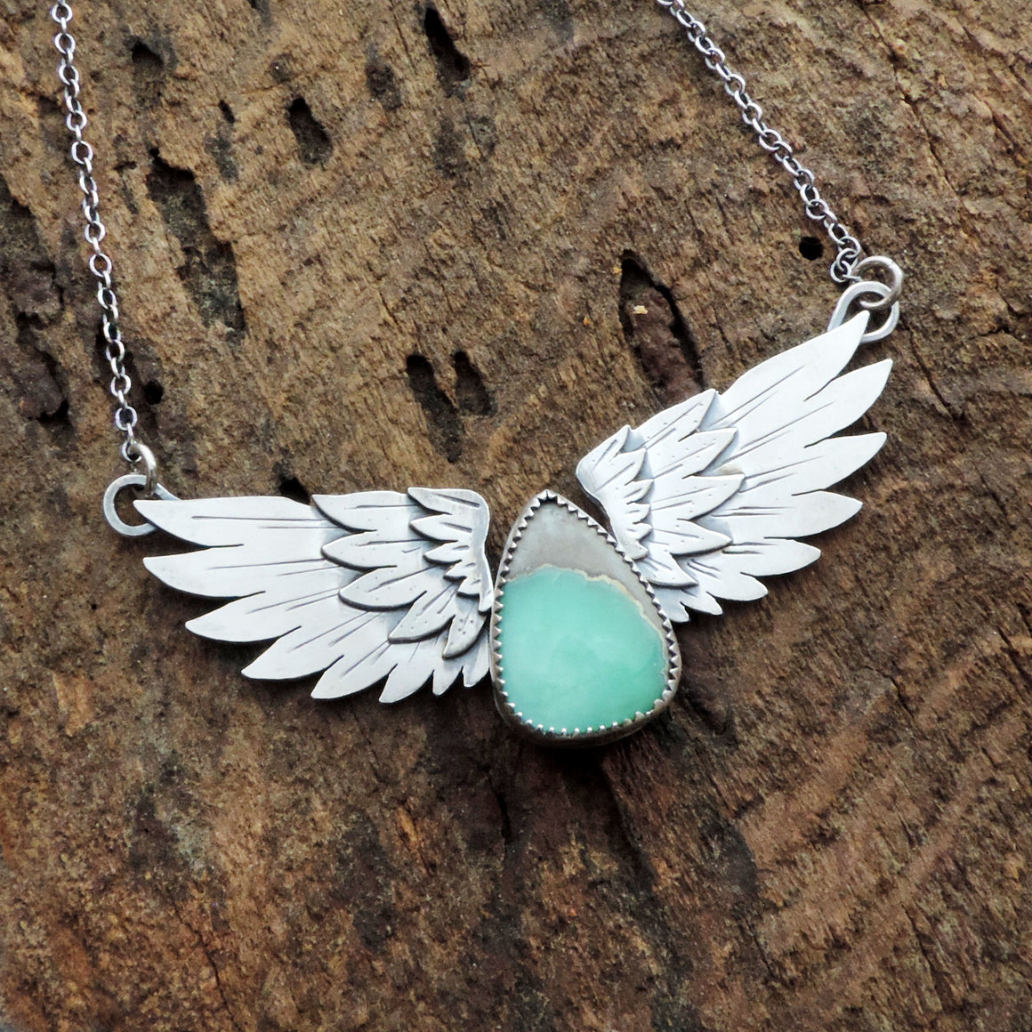 Angel Wings Necklace with Desert Bloom Variscite