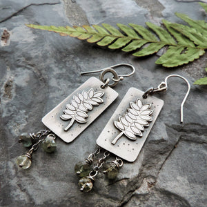 sterling silver fern earrings with moss aquamarine