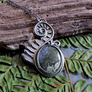 Unfurling Fern Pendant with Indonesian Moss Agate