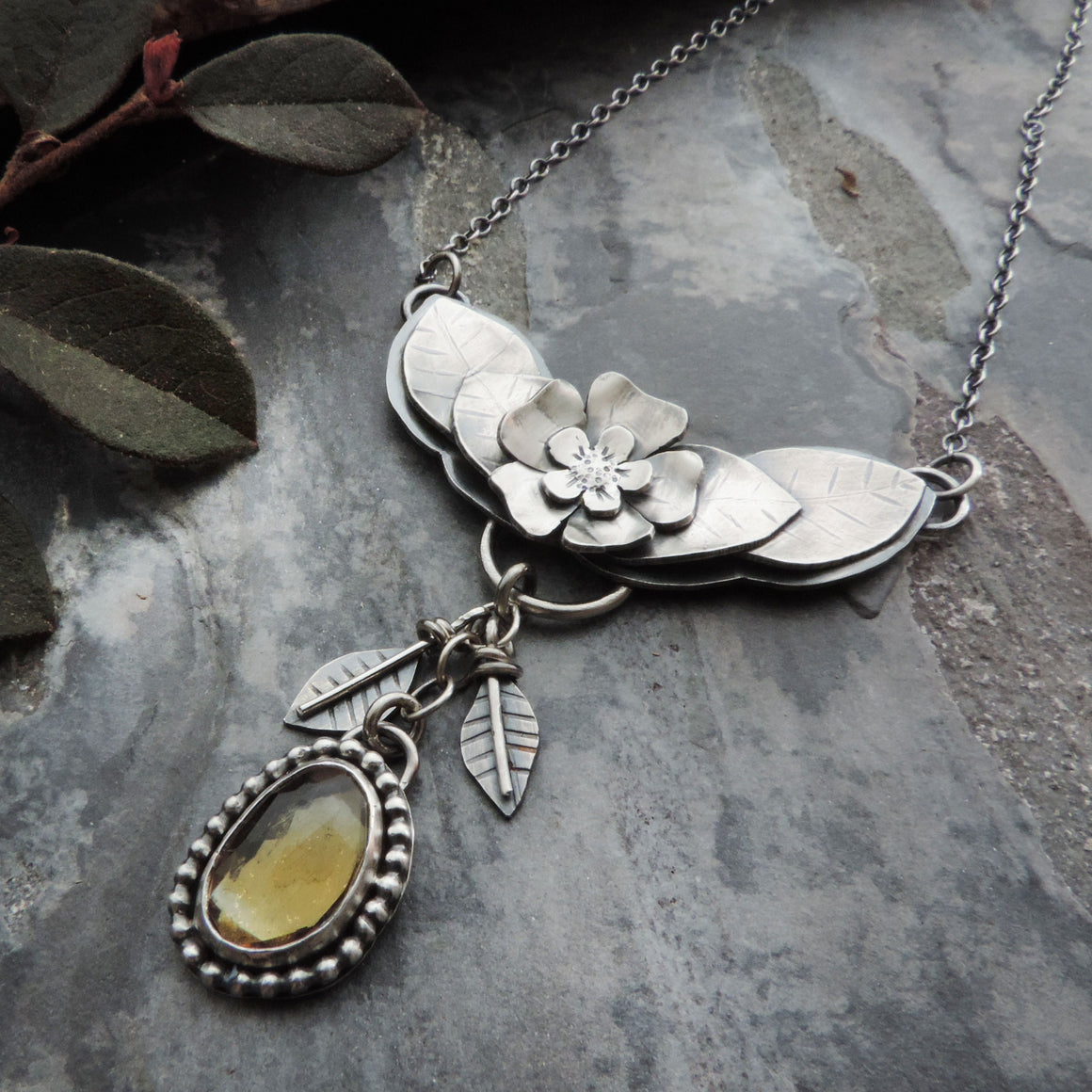 Flower and Leaves Necklace with Citrine Gemstone Drop