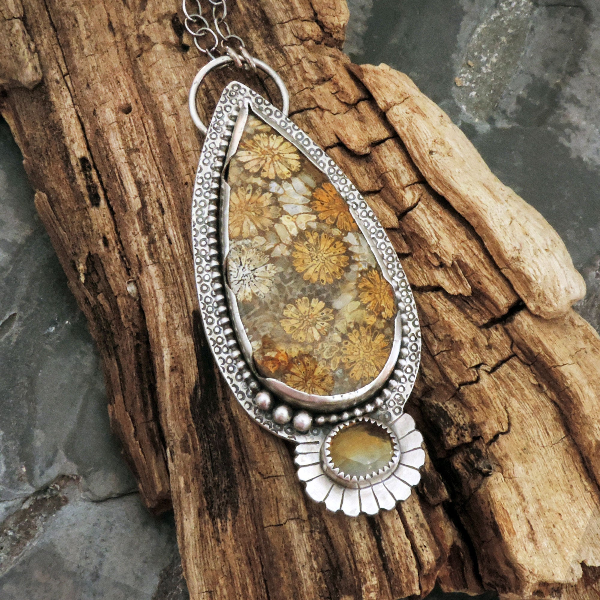 Natural Coral Fossil with Citrine  Multi Gemstone Sterling Silver Pendant