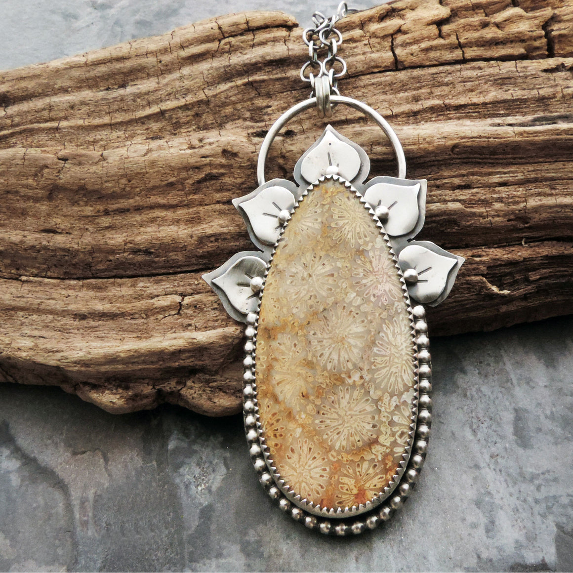 Natural Fossil Coral Flower Necklace