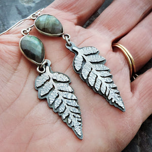 Fern Earrings with Faceted Wrapped Labradorite