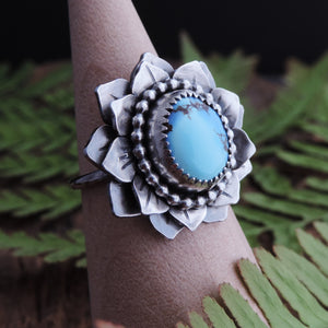 artisan sterling silver turquoise flower ring