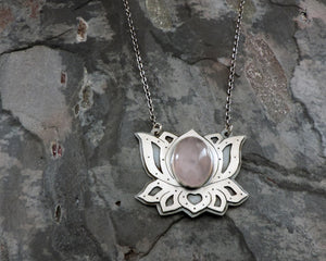 pink rose quartz silver lotus flower pendant necklace