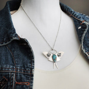 Luna Moth Necklace with Turquoise Stone