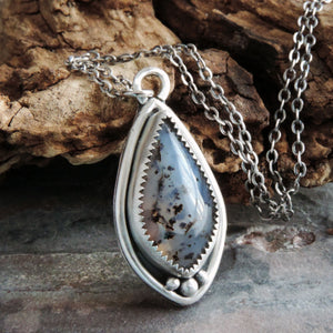 Montana Agate Teardrop Pendant Necklace