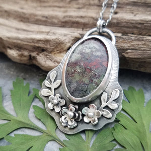 handmade flower necklace with moss agate