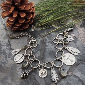sterling silver pine tree woodland charm bracelet