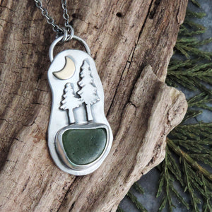 Two Pine Trees Necklace with Crescent Moon and Green Sea Glass