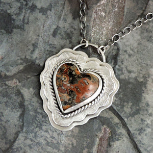sterling silver natural stone heart pendant