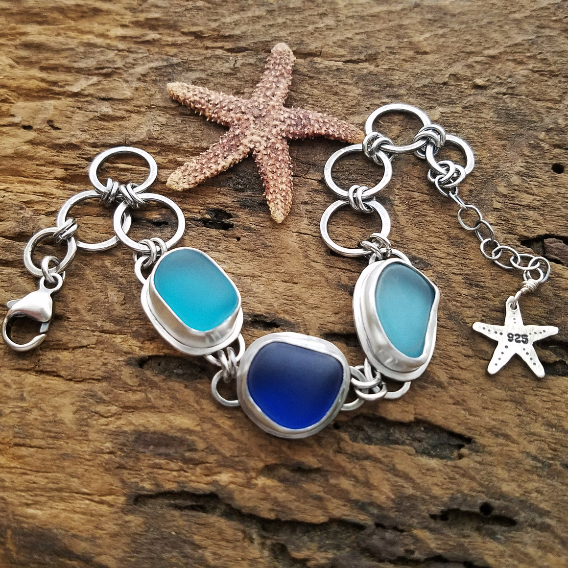 Triple Sea Glass Bracelet