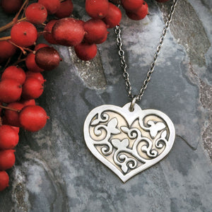 handmade mixed metal heart necklace