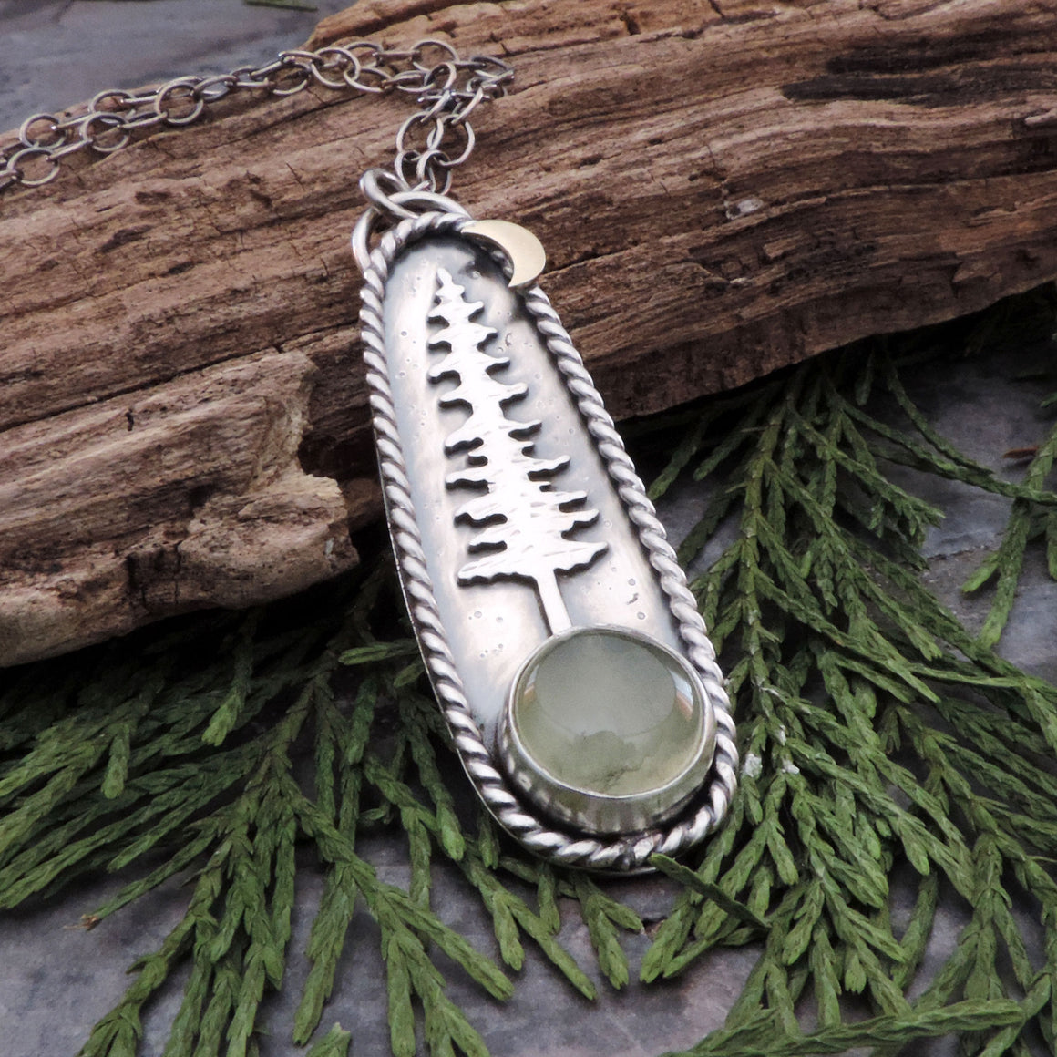Tall Pine and Round Prehnite Necklace
