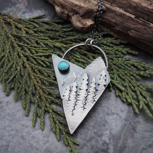 unique turquoise mountain and pine tree necklace