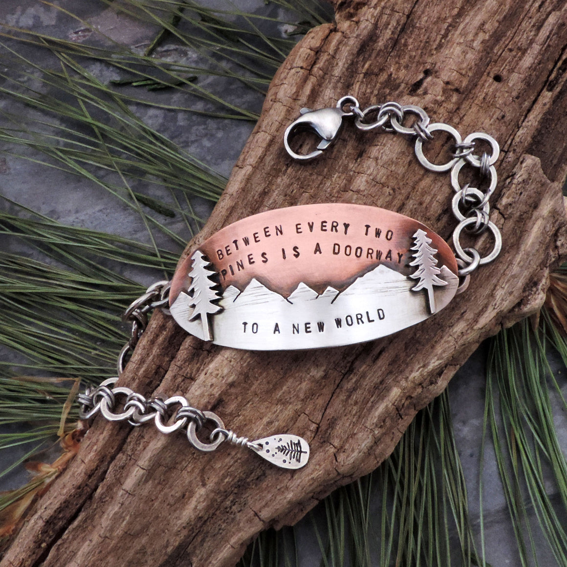 John Muir Pine Tree Quote Copper and Silver Bracelet