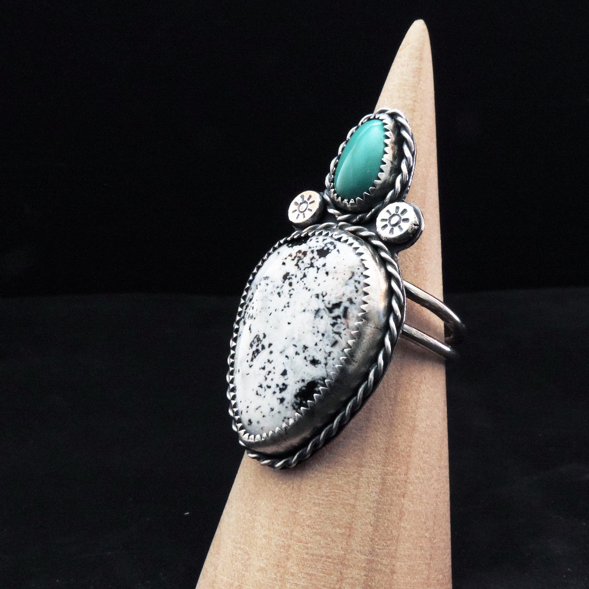 White Buffalo and Turquoise Ring - Size 8