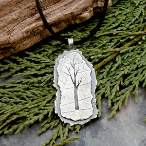 Silver Organic Winter Tree Pendant on Leather Cord