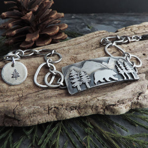 Bear in the Mountains Sterling Silver Bracelet