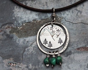 organic silver mountain necklace with stars