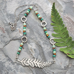 beaded fern frond choker necklace